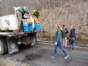 Students from Environmental School of Forestry helping to stock