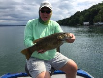 Dick Hyde Jr with a 5.5 pound smallmouth caught during practice.