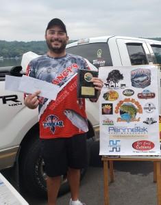 Kevin Schneider 1st Place Boater Otisco Lake 15.51 pounds. Fat Nancy's Tackle Shop Big Bass 4.85